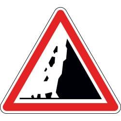 Panneau risque de chute de pierres - A19
