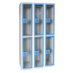 Vestiaire L750L à porte plexi, 2 cases par colonne de 30cm