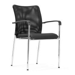 Chaise PHIL, assise tissu noir, dossier résille, disponible avec et sans roulettes