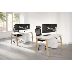 Support simple ou double écrans pour bureaux, norme VESA, rotatif à 360°