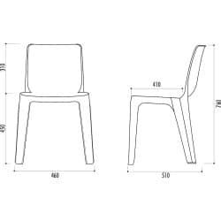 Chaise empilable en résine de synthèse Denver - Classement feu M4