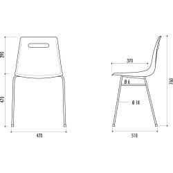 Chaise Campus à coque polypropylène M2 et structure acier