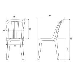 Chaise bistrot empilable plastique Miami