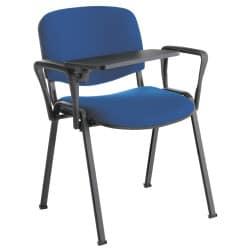 Chaise Iso, assise et dossier tissu enduit M1 avec options accoudoirs + tablette