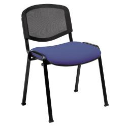 Chaise Iso, assise tissu enduit M2 et dossier résille noire