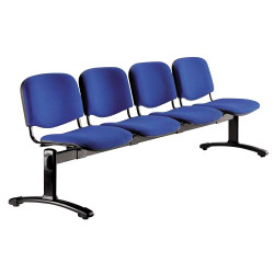 Poutre avec chaises ISO, assise et dossier tissu enduit M1, structure acier noir, plusieurs coloris de tissu disponible
