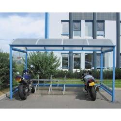 Abri vélos et motos Crémone en acier - Couleur au choix - Parois verre trempé securit