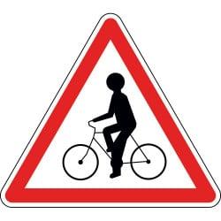 Panneau débouché de cyclistes venant de droite ou de gauche - A21