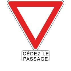 Panneau AB3a+M9c - Cédez le passage + panonceau cédez le passage