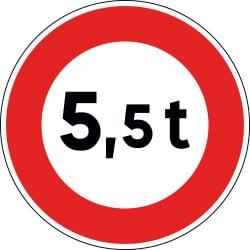 Panneau  B13a - Accès interdit aux véhicules essieu lourd