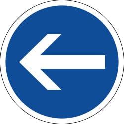 Panneau obligation de tourner à gauche avant le panneau - B21-2