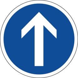 Panneau direction obligatoire tout droit à la prochaine intersection - B21b