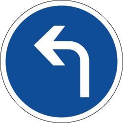 Panneau direction obligatoire à gauche à la prochaine intersection - B21c2