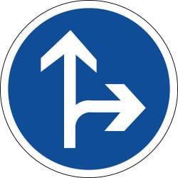 Panneau B21d1 - Direction obligatoire tout droit ou à droite