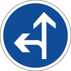 Panneau directions obligatoires à la prochaine intersection tout droit ou à gauche - B21d2