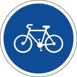 Panneau piste ou bande obligatoire pour les cycles sans side-car ou remorque - B22a