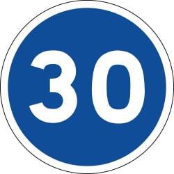 Panneau vitesse minimale obligatoire - B25 - Personnalisable