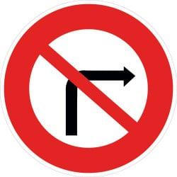 Panneau interdiction de tourner à droite à la prochaine intersection - B2b