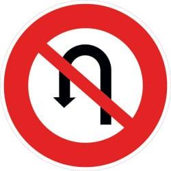 Panneau interdiction de faire demi-tour sur la route suivie jusqu'à la prochaine intersection - B2c