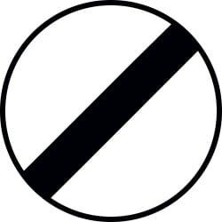 Panneau fin de toutes les interdictions précédemment signalées, imposées aux véhicules en mouvement - B31