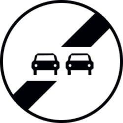 Panneau fin d'interdiction de dépasser - B34