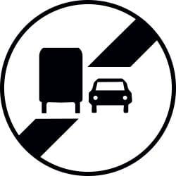 Panneau fin d'interdiction de dépasser - B34a