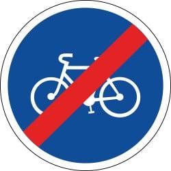 Panneau fin de piste ou bande obligatoire pour cycle - B40