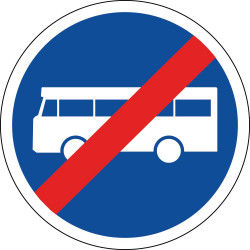 Panneau fin de voie réservée aux véhicules des services réguliers de transport en commun - B45a
