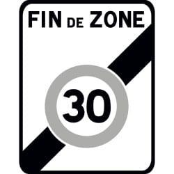 Panneau sortie d'une zone 30 - B51