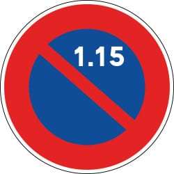 Panneau stationnement interdit du 1er au 15 du mois - B6a2