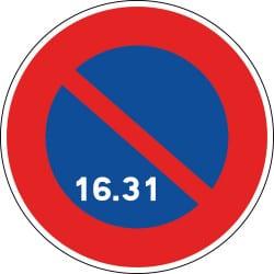 Panneau stationnement interdit du 16 à la fin du mois - B6a3