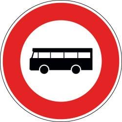 Panneau accès interdit aux véhicules de transport en commun de personnes - B9f