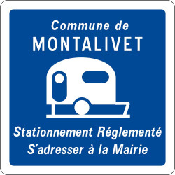 Panneau stationnement réglementé pour les caravanes et les autocaravanes - C23 - Personnalisable