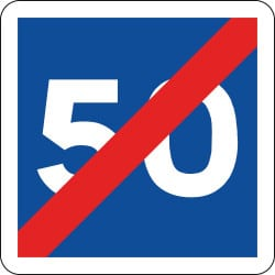 Panneau fin de vitesse conseillée - C4b - Personnalisable