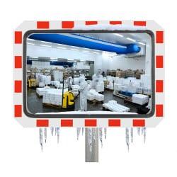 Miroir de contrôle de la circulation - Industrie & voie privée antigivre 90° Inox Poli
