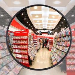 Miroir multi-usages intérieur 90° Plexi+ - Fixation platine murale
