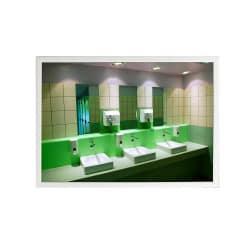 Miroir sanitaire plat Plexi+ - Cadre MBF laqué blanc