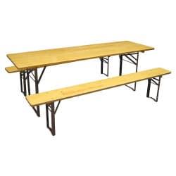 Table pliante en bois + 2 bancs pliant en bois