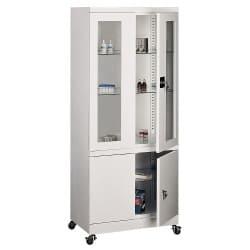 Armoire médicale vitrée avec placard sur la partie basse