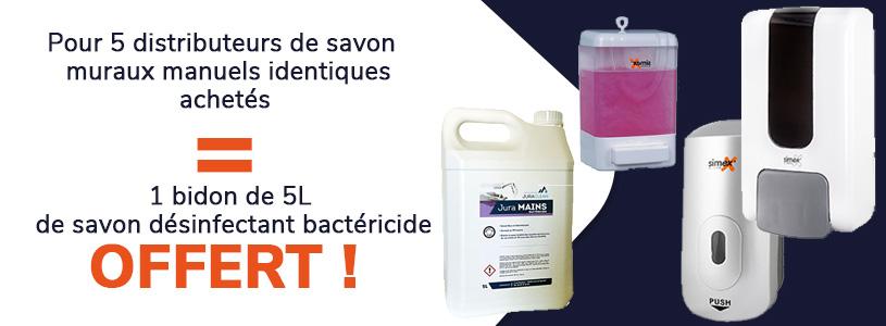 5 distributeurs de savon muraux achetés = 1 bidon de 5l de savon désinfectant offert
