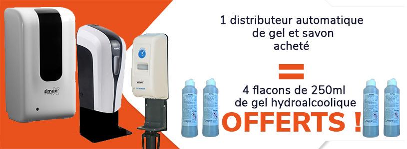 1 distributeur automatique de gel acheté = 4 flacons de 250 ml de gel hydroalcoolique offert