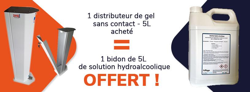 1 distributeur de gel sans contact acheté = 1 bidon de 5L de solution hydroalcoolique offerte
